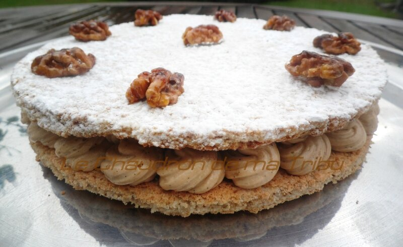 Dacquoise aux noix-crème mousseline pralinée 002