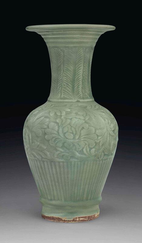 carved Longquan celadon vase, Yuan dynasty (1279-1368)