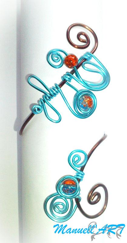 bracelet marron et turquoise