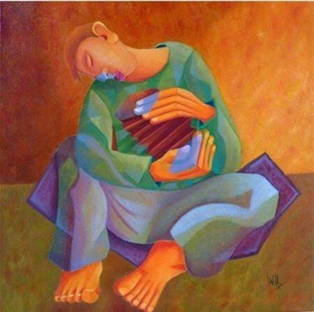 L'accordéoniste peinture par Willy Charps, Artmajeur