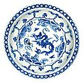A blue and white ' 'dragon' dish, ming dynasty