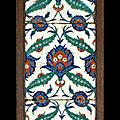 Panneau de revêtement ottoman, iznik, vers 1575