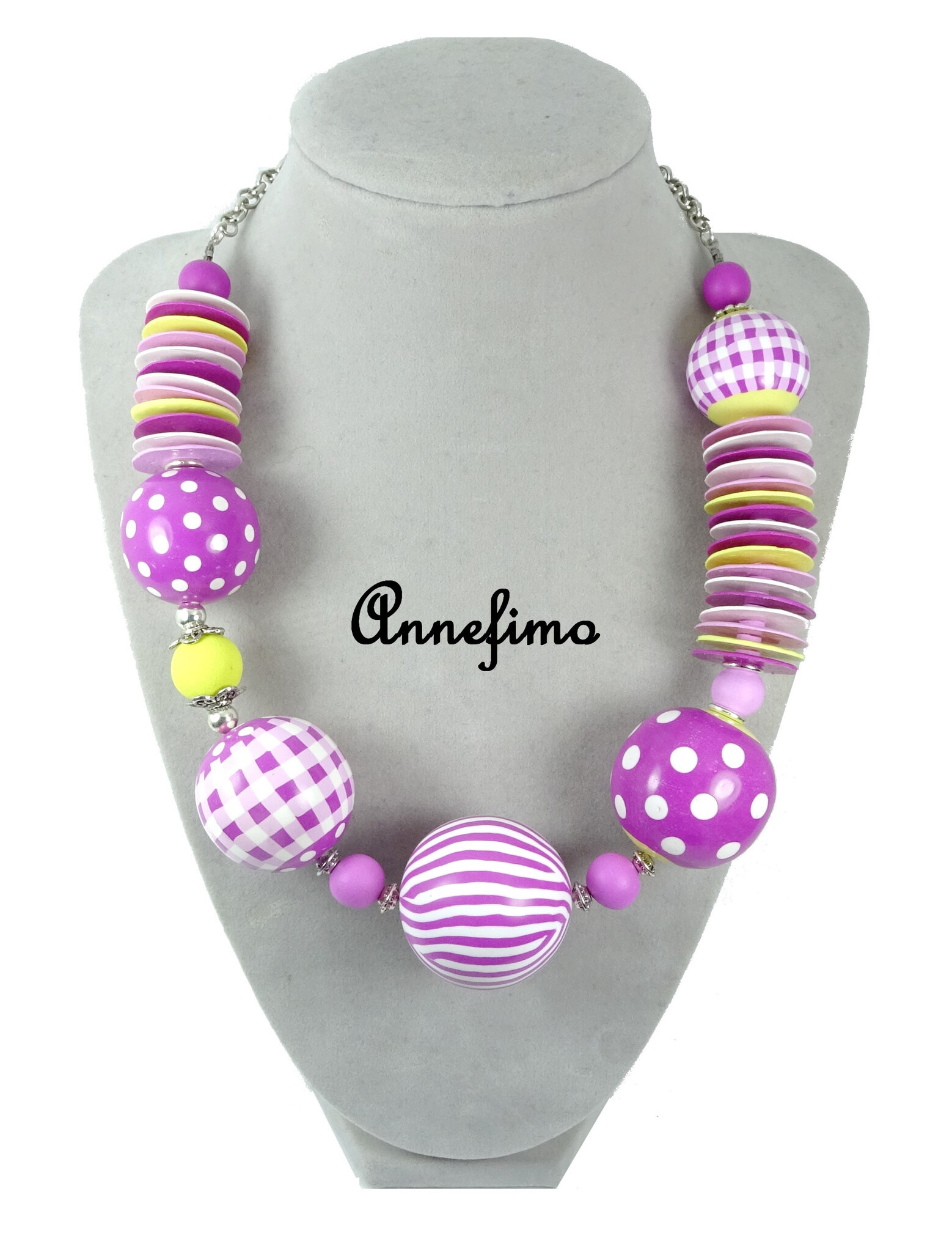collier boules roses