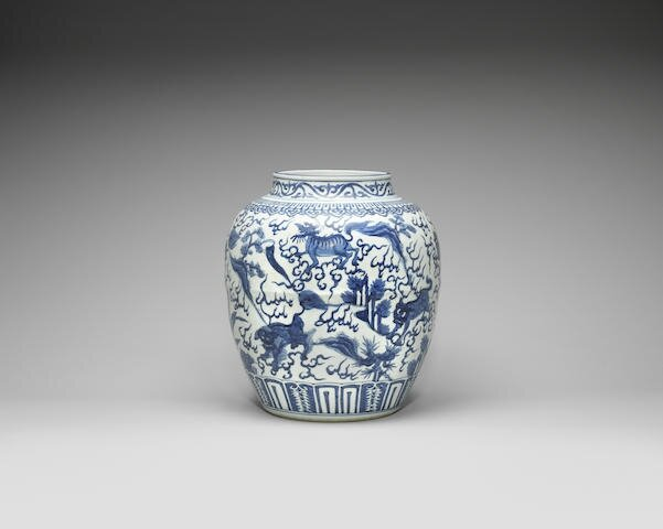 A large blue and white 'mythical beasts' jar, Wanli period (1573-1619)