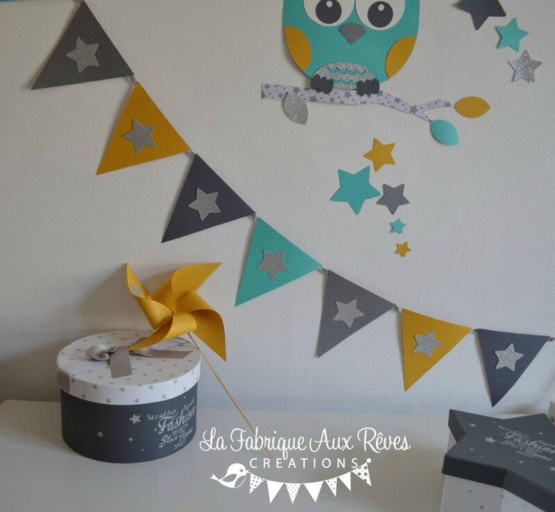 banderole fanions carton jaune moutarde turquoise caraïbe gris argenté - décoration chambre enfant bébé hibou étoiles turquoise caraïbe jaune moutarde gris argent