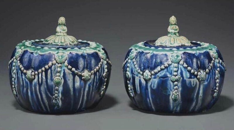 A rare pair of fahua weiqi boxes and covers, Ming dynasty, 16th century