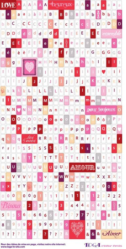 Stickers Alphabet Amour Toujours