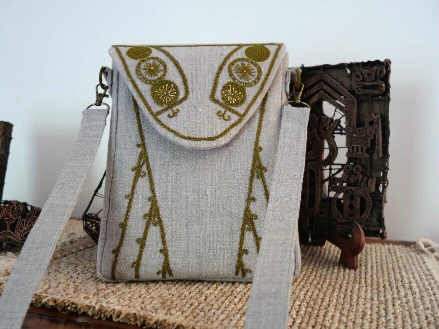 sac en lin trapèze, inspiration vintage c