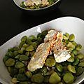 Salade de fèves et petits pois et feta marinée