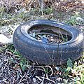Déchet pneu dans nature 3 - déchet sauvage - pollution