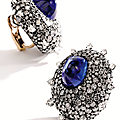 Pair of important sapphire and diamond ear clips, jar