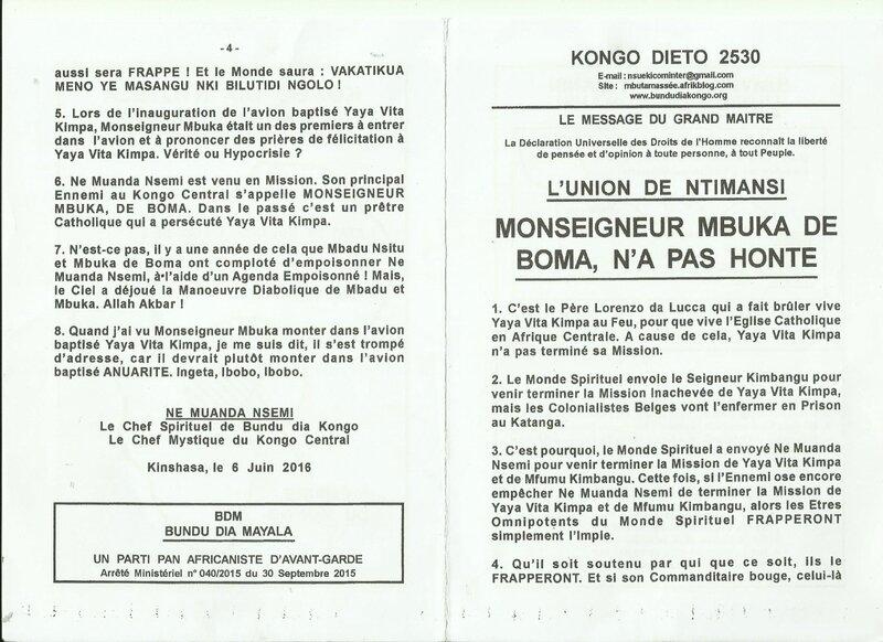 MONSEIGNEUR MBUKA DE BOMA N'A PAS HONTE a