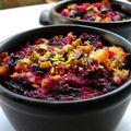Brioche perdue aux fruits rouges et mascarpone, éclats de pistache