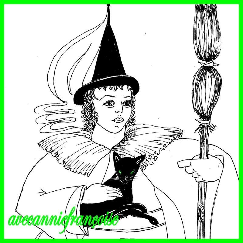 sorcière haloween carrée
