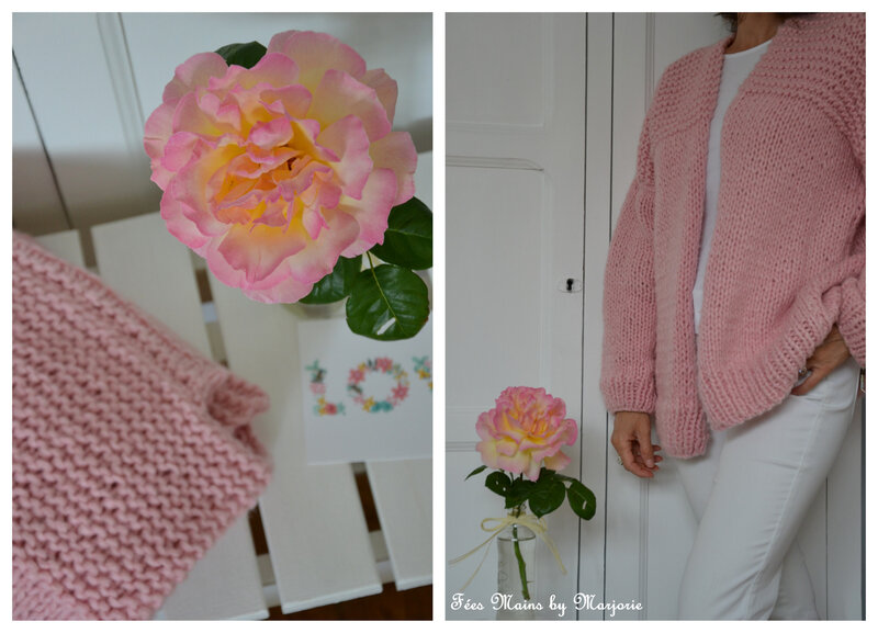 Tricot Gilet rose1