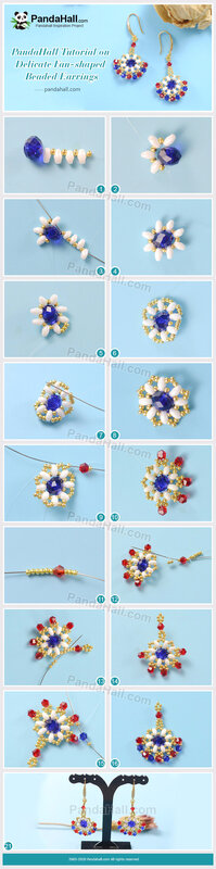 2-PandaHall-Tutorial-on-Delicate-Fan-shaped-Beaded-Earrings