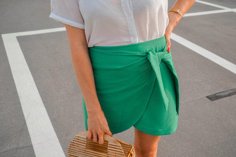 Mini jupe portefeuille vert d'eau - styliz (17)
