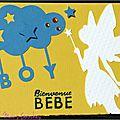 carte de naissance garçon avec fée, nuage et étoiles