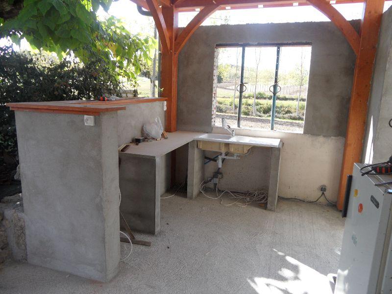 Evier et plan de travail photo de la terrasse et la cuisine d 39 t guit - Cuisine d ete amenagement ...
