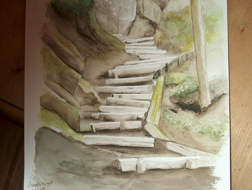 Escalier de rondins