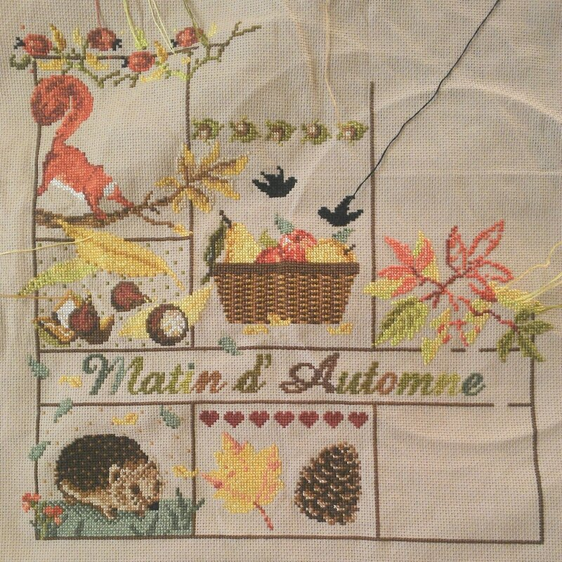 matin d'autonne madame la fée automn morning cross stitch point de croix