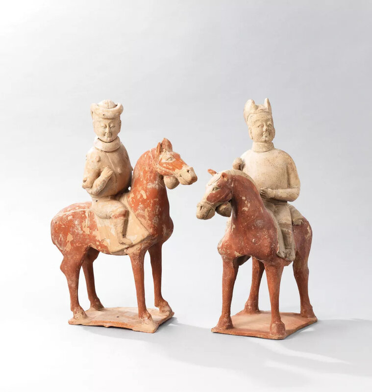 A pair of painted pottery equestrian figures, Northern Qi dynasty (530-577)