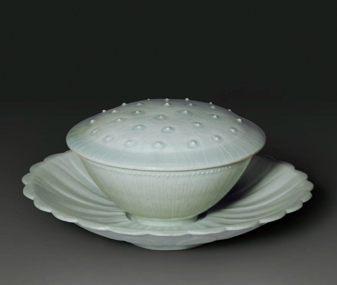 A rare carved Qingbai lotus-form bowl, cover and stand, Southern Song Dynasty (1127-1279)