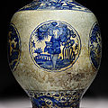 an exceptionally large safavid blue and white baluster pottery jar, kirman, iran, 1st half 17th century