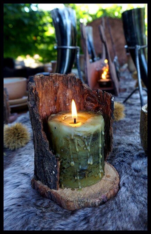 bougie sur support bois