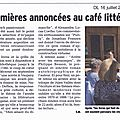 On en parle dans la presse : le café littéraire de juillet et la sélection cultura