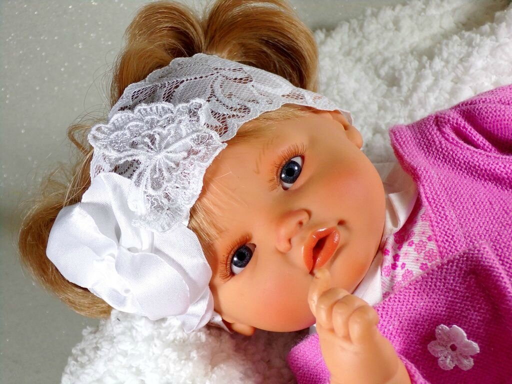 Bandeau cheveux bébé blanc papillon fleur