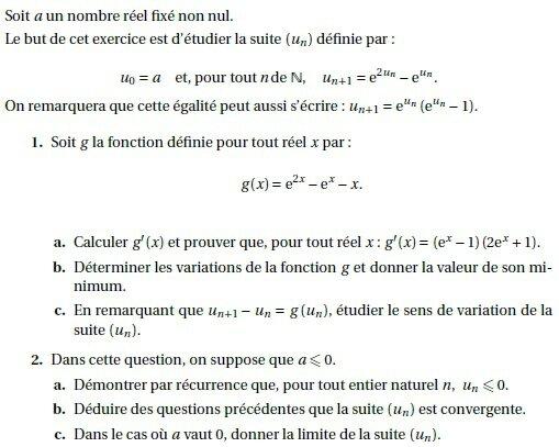 Terminales S Annales Exercices De Bac S Corriges 4 Fonction Exponentielle Et Suites Nextschool