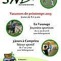 Vacances printemps/été 2013 pour vos enfants de 8 à 15 ans
