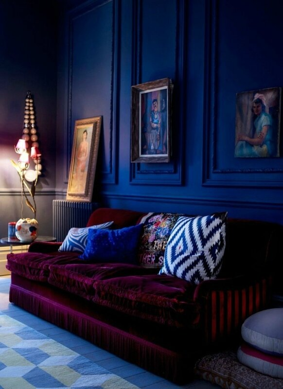 Awesome-Velvet-Couch-and-Gold-Framed-Pictures-for-Luxurious-Navy-Blue-Living-Room-Ideas