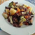 Boeuf haché au vin rouge et légumes fricassés