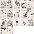 Bada shanren (1626-1705), landscapes, flower, birds and rocks, 1698