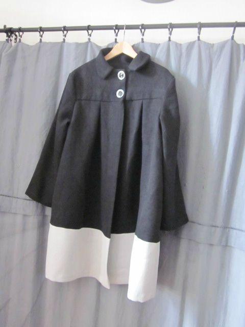 Manteau d'été bicolore en lin noir et glacier (1)