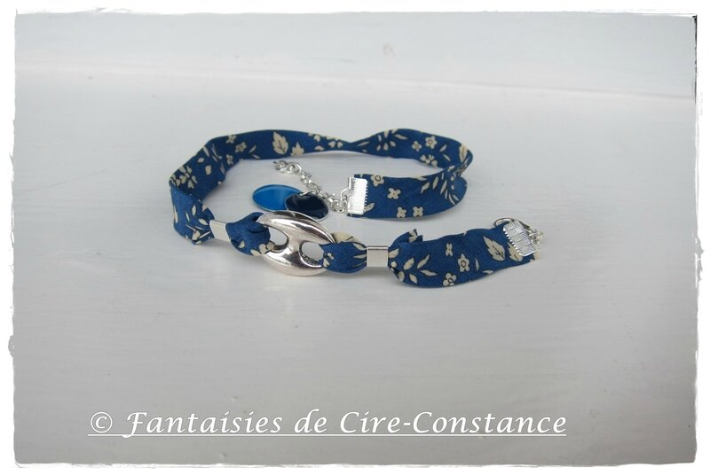 bracelet double tour grain de café Capel bleu