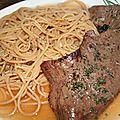 Spaghetti et coeur de boeuf à la plancha sauce fond de veau