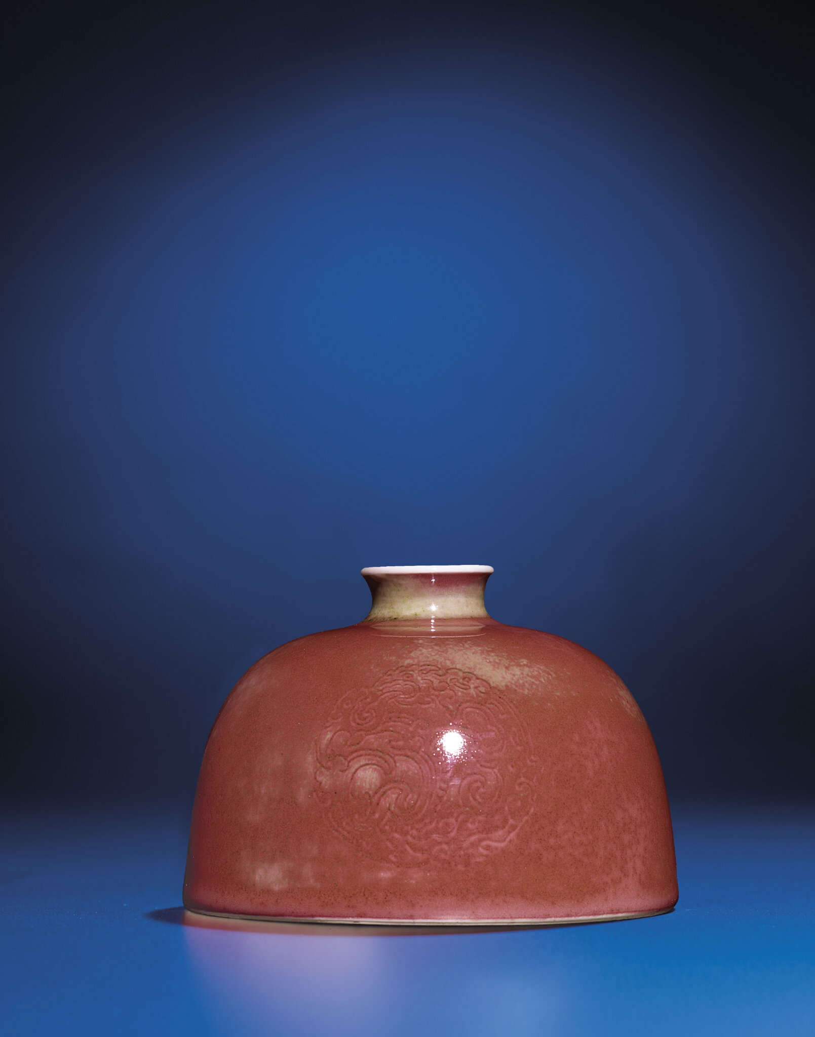 A peachbloom-glazed beehive water pot, Kangxi six-character mark and of the period (1662-1722)