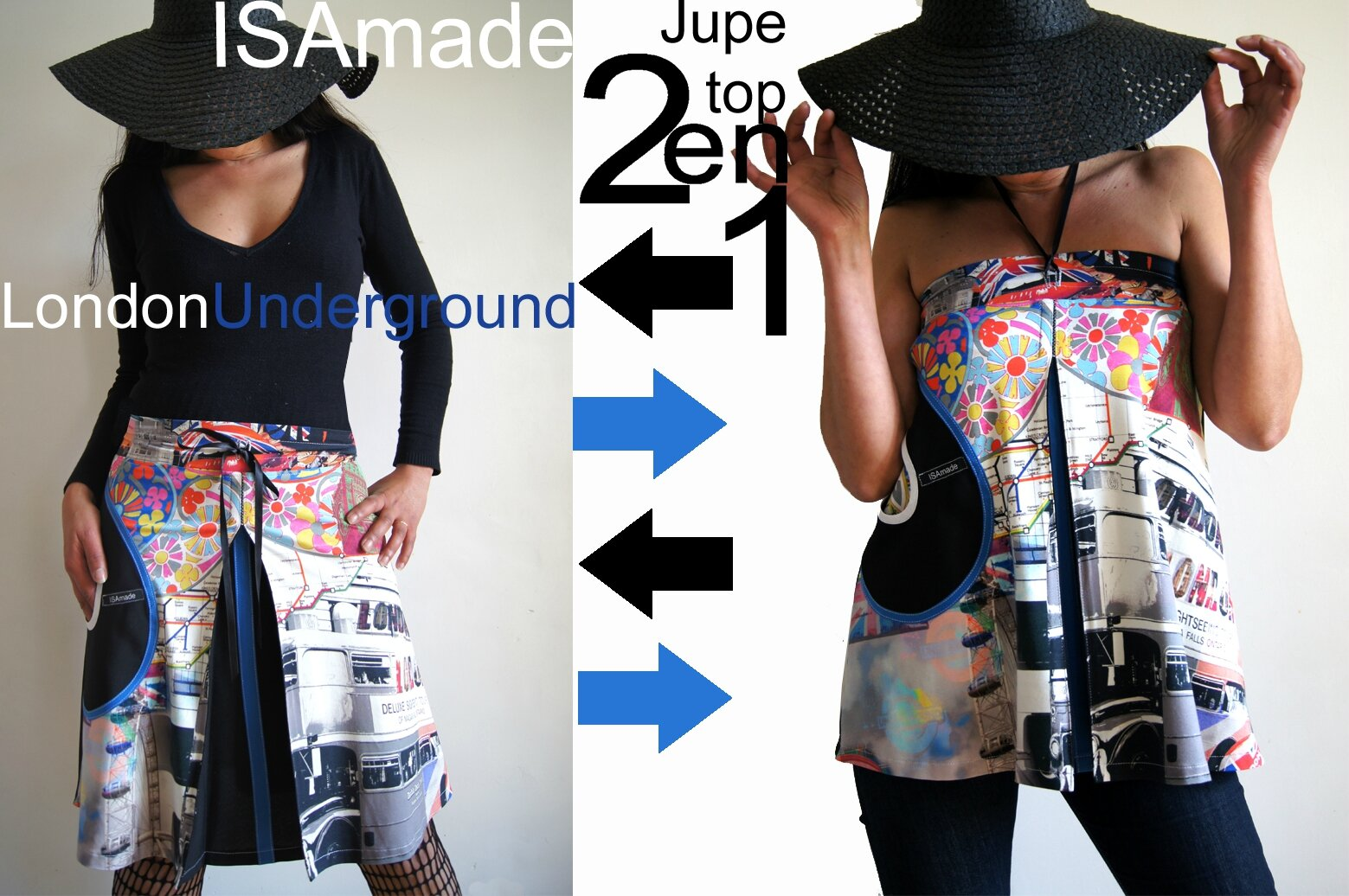 Jupe transformable en top imprimé londres et blanc