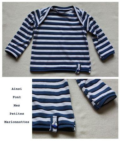 tee shirt raye bleu blanc