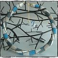 Collier MS 'Abstract parallelogram' Blue & Gray