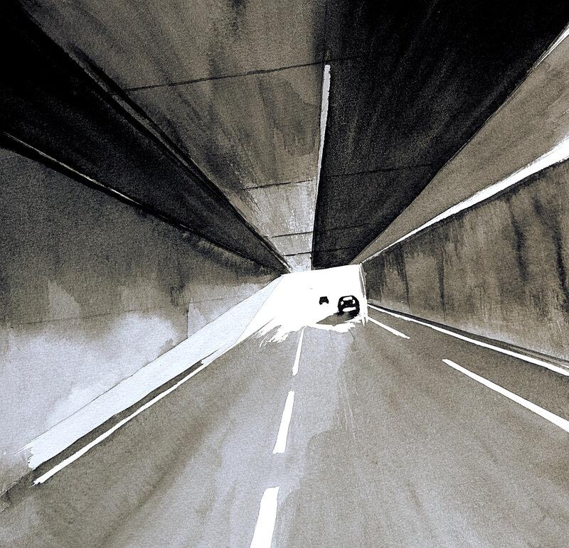 la traversée du tunnel encre de chine, 30 x 30 cm, decembre 2019