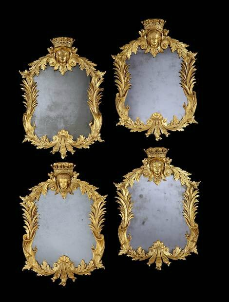 The Castle Howard mirrors, a set of four George II giltwood mirrors, circa 1740