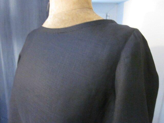 Robe ODETTE en lin noir et coton noir rayé blanc - Taille 42 (5)