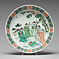 A large famille verte dish depicting five scholars, qing dynasty, kangxi (1662-1722)