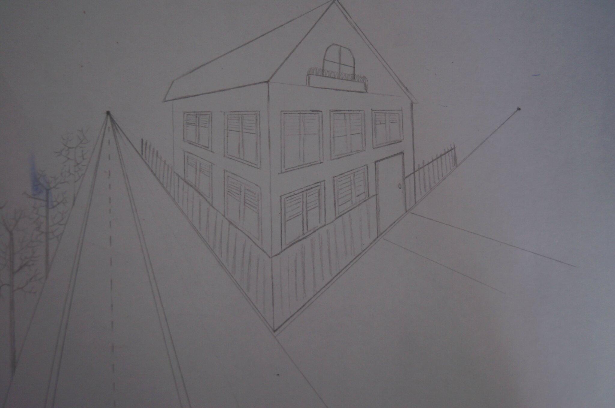 Dessiner une maison avec deux points de fuite