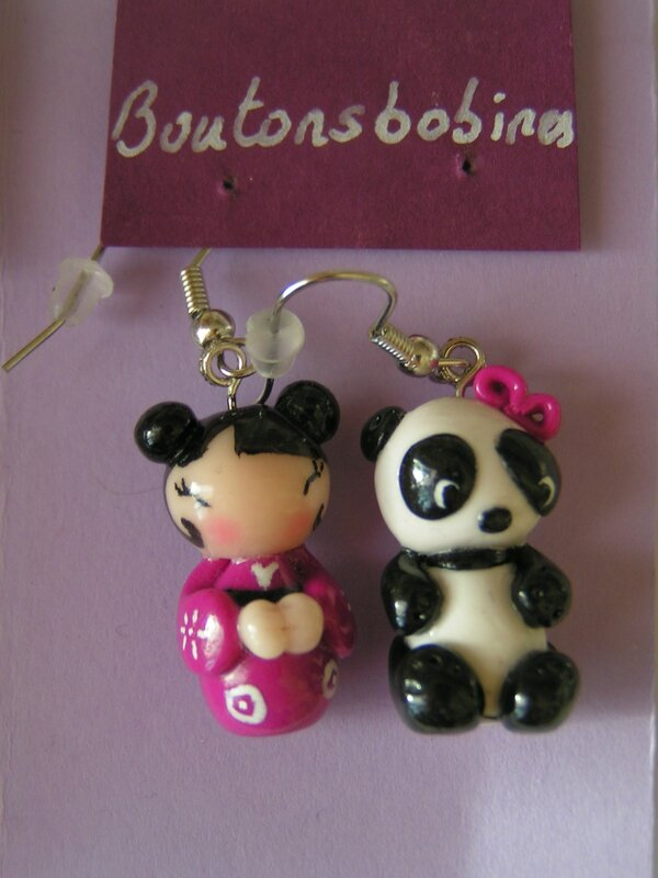 boucles panda kokeshi