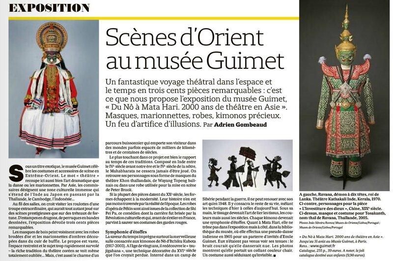 Expo Scènes d'Orient musée Guimet Les Echos 24 avril 2015